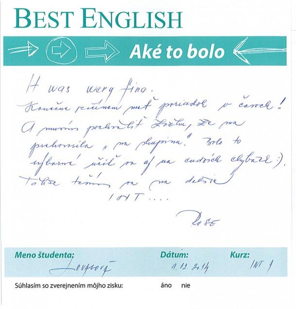 Rose – skupinový kurz anglického jazyka v Best English