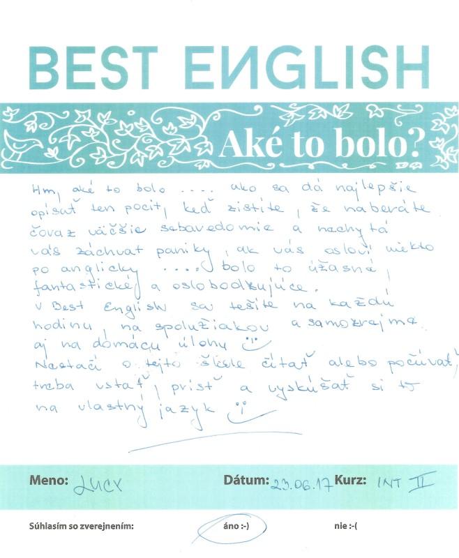 Lucy – v Best English sa tešíte na každú hodinu