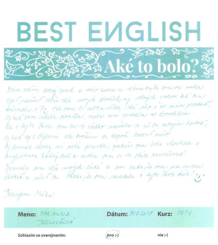 Best English, Nitra, Kurz, Anglický jazyk