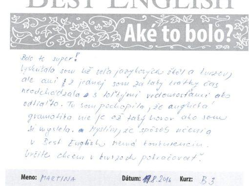 """Martina: """"Spôsob učenia v Best English nemá konkurenciu."""""""