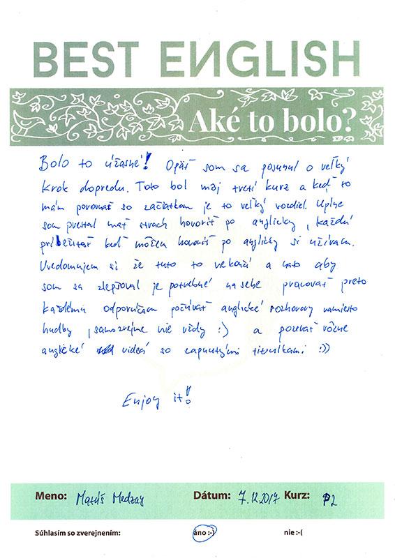 Matus, referencie, kurz anglického jazyka Nitra, Best English Nitra
