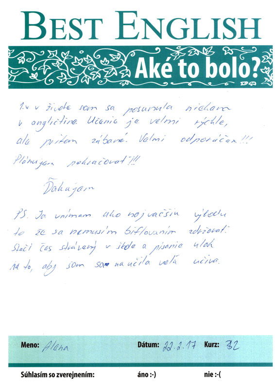 Referencie, Best English Nitra, Alenka, jazykový kurz Nitra