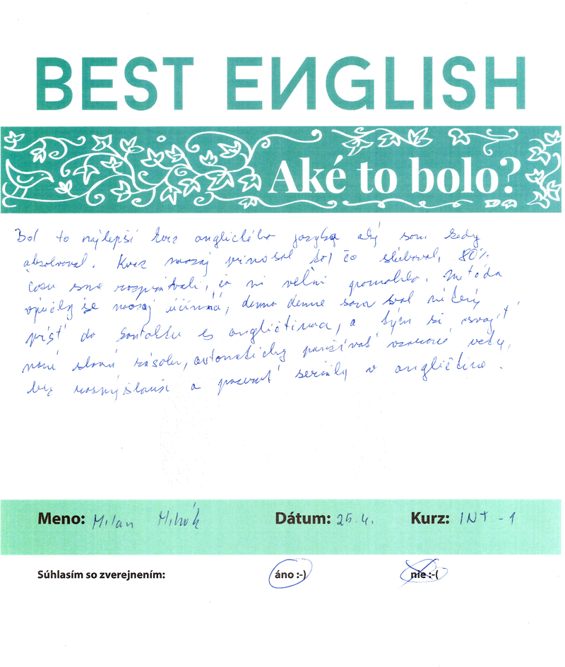 """Milan: """"Najlepší kurz anglického jazyka, aký som kedy absolvoval."""""""