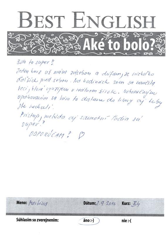 Jazykový kurz Nitra, Best English Nitra, Referencie , Maťka