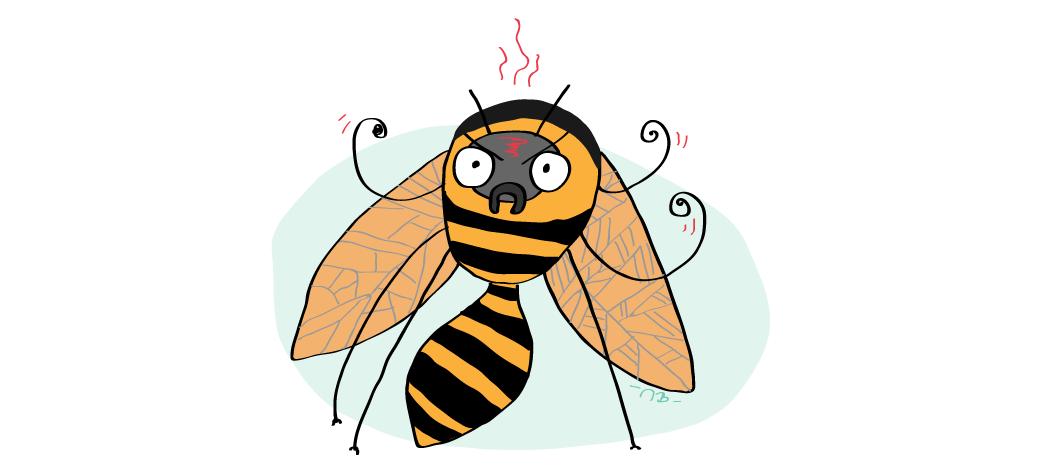 Anglické frázy – Mad as a hornet