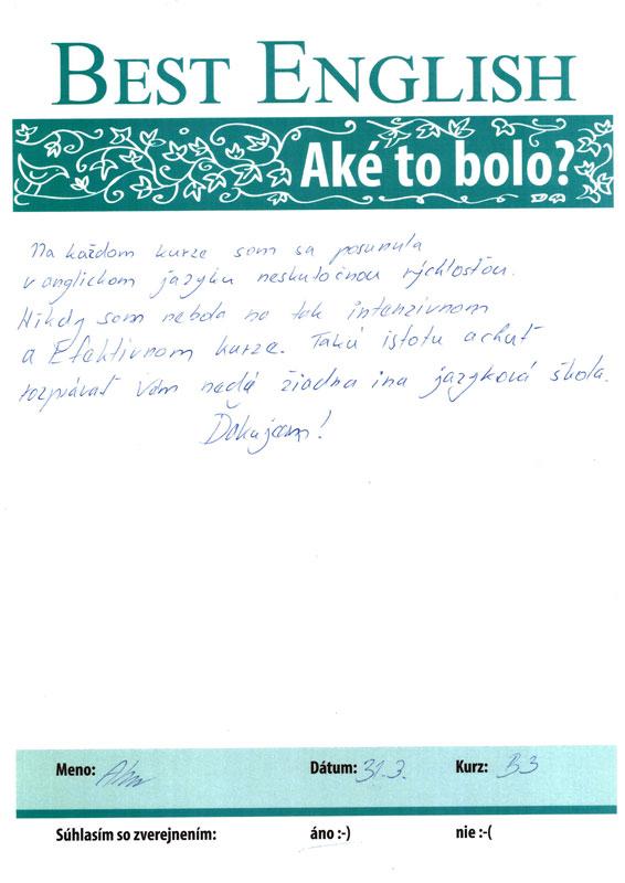 Referencie, Alenka, Best English Nitra, jazykový kurz Nitra